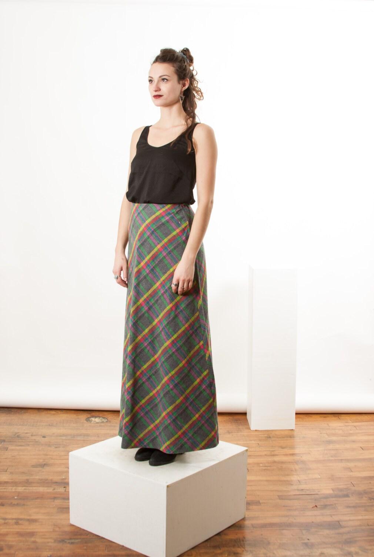 grey and pastel plaid skirt maxi wool skirt vintage wool