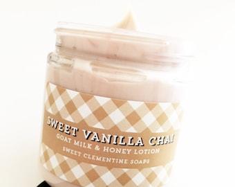 Chai Lotion - Sweet Vanilla Chai Goat Milk Lotion, Goat Mil Honey Hand and Body Cream, Chai Latte Lotion, Chai Tea Lotion