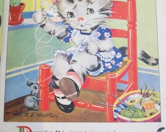 Vintage Ruth Newton Nursery Rhyme Book Print-Kitten Sewing