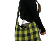 ACROSS BODY BAG - Plaid Bag - Vegan Bag - Slouchy Hobo Bag - Black and Yellow - Vegan Purse - Boho Bag - Hippie Bag - Yellow Bag - Cool Bag