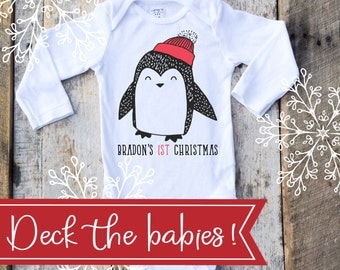 Personalized First Christmas Boy Onesies®, Boy 1st Christmas, Penguin Onesie, Christmas Gift, Graphic Onesie, Baby Singlet, Christmas Onesie