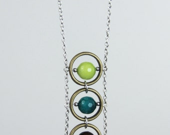 Center Hues Stone Pendant - Brown Lime Green Teal Stone Pendant Chain Mixed Metal Antique Brass Silver Layering Necklace