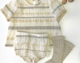 Baby clothes Baptism outfit Girls clothing Linen outfit Linen bloomers Top Baby girl outfit Ivory Natural tan Golden