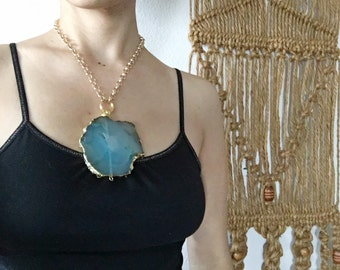 Blue Agate pendant necklace, chunky stone statement necklace