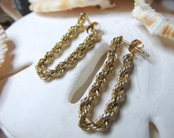 10k Rope Chain Earrings 3mm wide Solid Gold Dangle Earrings 1.06g