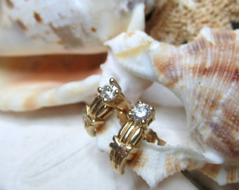 14k Diamond Earrings 1/3 carat Round Brilliant J Hoop Earrings 2.44g