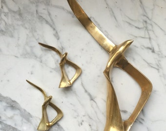 Set of Two SMALL 1970s Brass Soaring Seagull Sculpture Statue