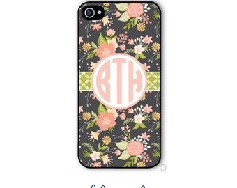 Personalized iPhone Case Custom Monogram Case iPhone 5 5s 5c 6 6s 6 Plus, Samsung Galaxy S4 S5 S6 Tough Phone Case Vintage Floral Style 183