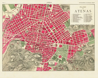 1905 Antique Athens city map print. Original antique Athens chart, Greece.