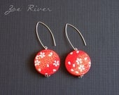 Red and white earrings, Japanese paper, wood, surgical steel, nickel free and lead free ear posts