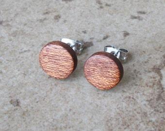 "Stud Earring, Mahogany Wood Earring, Matte Brown Wood Stud Earring, Surgical Steel Post, Sterling Silver Posts, 3/8""(10mm) - 202"