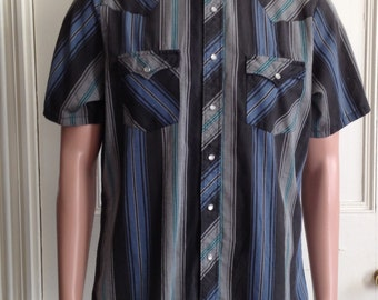 Vintage Pearl Snap Shirt Mens Size Medium Authentic Western Youngbloods Short Sleeve Sz M