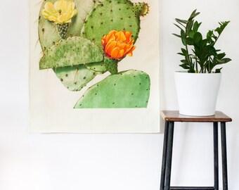 Botanical Print wall art / Prickly Pear fabric wall art/ Cactus wall art / bedroom wall art / Cactus wall art/ bedroom decor/ orange flower
