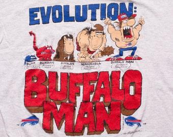 Buffalo Man Evolution T-Shirt, Bills Team Tee, NFL Apparel, Vintage 90s
