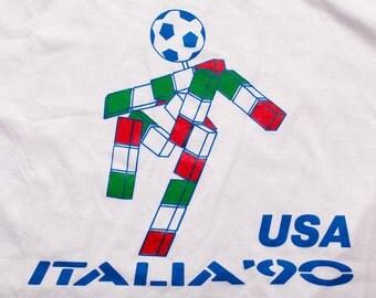 Italia '90 World Cup T-Shirt, USA Soccer Team, Mascot Logo, Vintage 90s