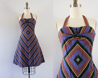 1960s Aztec Wonderland cotton day dress / 60s southern beauty