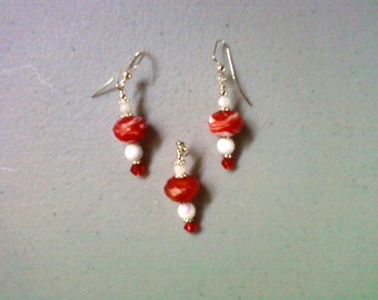Red and White Pendant and Earrings (1115)