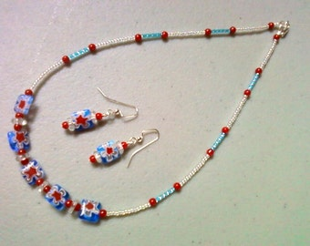 Aqua, Red and White Millefiori Necklace and Earrings (0960)