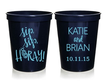 Wedding Favors - Sip Sip Hooray Personalized Wedding Cups, Reception Favors for Guests, Shower Favors, Party Cups, 16 oz. Stadium Cups