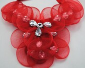 Red Mesh Bib Necklace/Statement Necklace/Gift For Her/Valentine's Day/Special Occasion/Under 50 USD/Adjustable