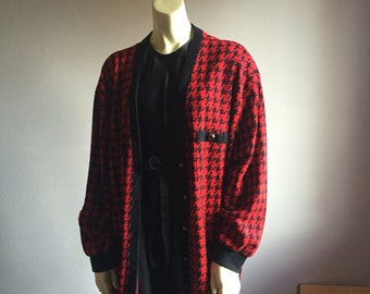 3X houndstooth cardigan red and black hounds ska preppy new wave 90s early 1990s button up sweater kitsch vintage plus size womens unisex XL