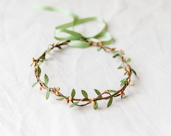 berry and leaf hair wreath // burnt orange & green / delicate flower crown whimsical dainty nature inspired garden wedding rustic woodland