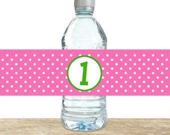 Polka Dot Water Bottle Labels, Pink and Green Water Bottle Labels, 1st Birthday Water Labels, Printable or Printed Labels