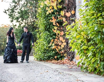 Black Wedding Dress with Halter Neckline Custom Handmade in your Measurements