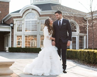 Stunning Modest Wedding Dress with Long Sleeves French Lace and Wave Organza