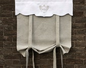 "Natural Gray Linen Tie Up Curtain,  House Number Monogram, Privacy Front Door Roll Up Shade, Curtain 64"" Length"