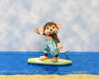 Needle Felted Surfer Monkey-Needle Felted and Adorable!...........Free U.S. Shipping Too!