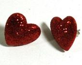 Red Glitter Heart Earrings - Post Earrings - Repurposed Button Jewelry