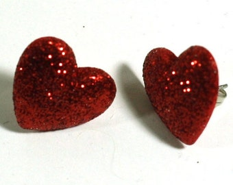 Red Glitter Heart Earrings - Post Earrings - Repurposed Button Jewelry