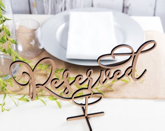 Wood Standing Reserved Table Sign DIY or Custom Painted Gold or Other Color Wedding or Party Table Decor Reception Signs (Item - LRV150)