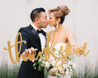 Thank You Sign Calligraphy Wedding Photo Props for DIY Thank you Cards, Wooden Sign for Bride & Groom Photography Decor (Item - TYC200)