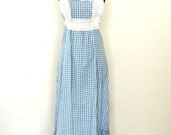 vintage gingham maxidress - 1970s blue/white cotton ruffled crisscross-back long cotton dress