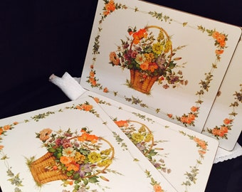 Traditional Placemats Flower Basket Dinner Size In Original Box Pimpernel Vintage