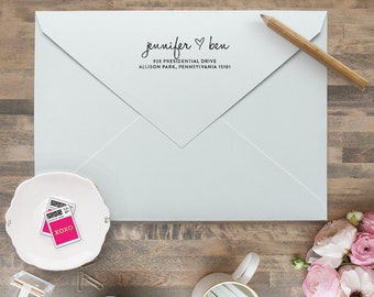 "Love Return Address Stamp - Personalized Address Stamp - Custom Wedding Address Stamp - Custom Invitation Rubber Stamp - 2.5""x1"" Art Mount"