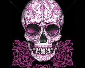 Pink Roses Sugar Skull Tank Top Day of the Dead Choose Size and Color 16394