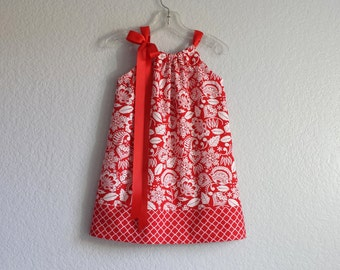 New! Girls Red and Cream Pillowcase Dress - Cream Flowers and Leaves on Red - Red Damask Dress - Size 12m, 18m, 2T, 3T, 4T, 5, 6, 8 or 10