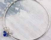 Blue Seaglass Charm Bangle | Silver Bangle | Silver & Seaglass Bracelet | Handmade Charm Bracelet | Hammered Bangle