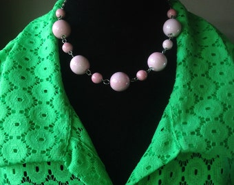 Baby Powder Pink GoGo Bobble Ceramic Sterling Bead Drop Dangle Necklace & Earring Set - Mid Century  Modern - Vintage Inspired