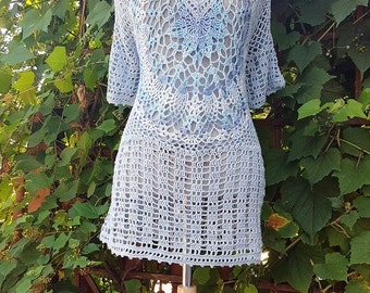 SALE: Beach Tunic /Blue waves /Crochet Cotton Cover up / Relax fit / L-XL/ Ready to Ship