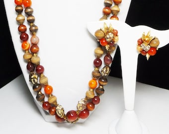 Shades of Fall Necklace & Earrings Set - Demi Parure - Browns, Orange, Beige  - Beaded Multi Strand - Leaf Clip ons - Designer Signed ART