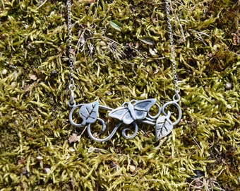 Buterfly necklace sterling silver chain / monarch leaves / 925 / nature / jewelry