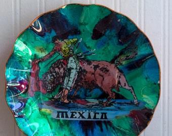 Vintage Mexico Souvenir, Bull with Matador on Mexican Plate or Bowl, Retro Mexican Artwork