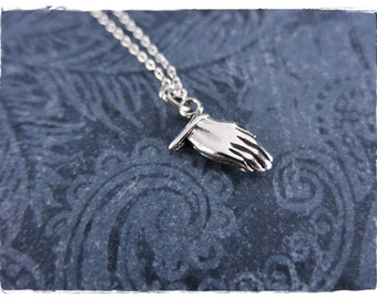 Silver Praying Hands Necklace - Sterling Silver Praying Hands Charm on a Delicate Sterling Silver Cable Chain or Charm Only