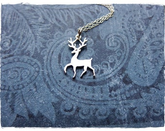 Silver Stag Necklace - Sterling Silver Stag Charm on a Delicate Sterling Silver Cable Chain or Charm Only