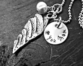 Artisan Angel Wing Necklace - Sympathy Angel Wing Necklace - Personalized Angel Wing Necklace - Hand Stamped Angel Wing Necklace
