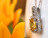 Square halo citrine yellow pendant, sterling silver halo bridesmaid necklace